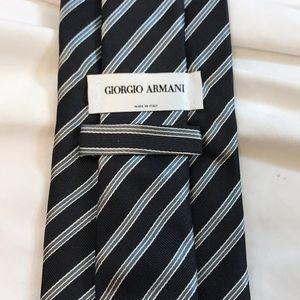 Giorgio Armani Striped Silk Tie ~ Navy Blue